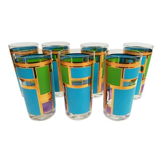 1960s Mid Century Bar Glasses, Gold, Turquoise and Green - Set of 7 For Sale