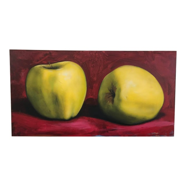 Circa 1990s Golden Apples Tom Seghi Acrylic Monumental Still Life Oil on Canvas Painting For Sale