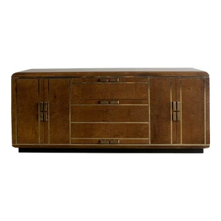 1980s Romweber Mid-Century Modern Burlwood and Brass Credenza For Sale