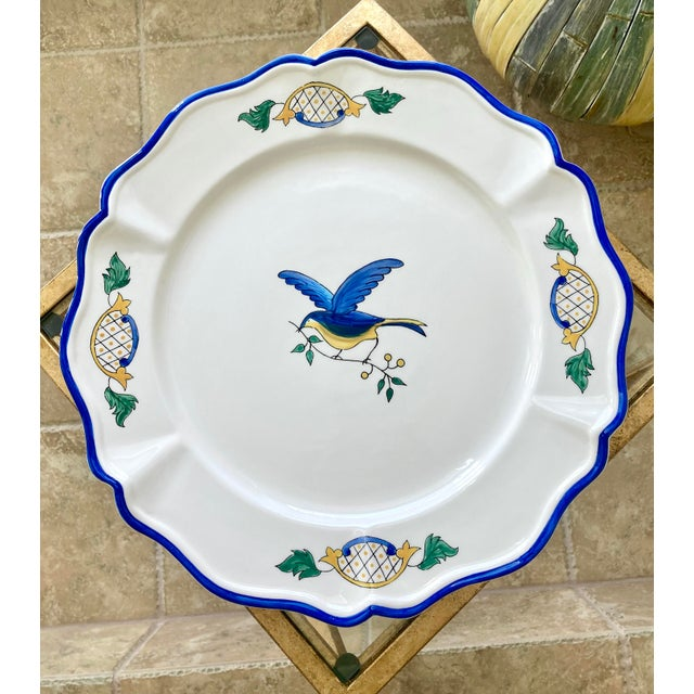 1980s Scalloped Border Hand Painted Bluebird Earthenware Platter Made in the Philippines For Sale - Image 12 of 12