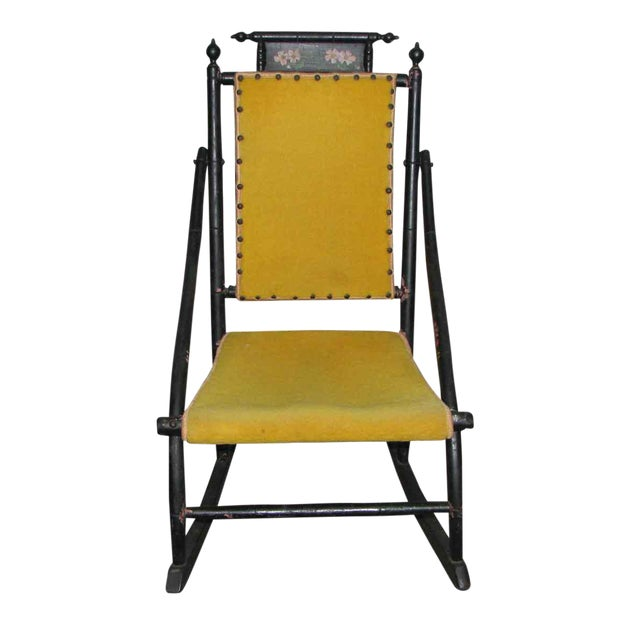 Victorian Rocker With Studded Yellow Upholstery For Sale
