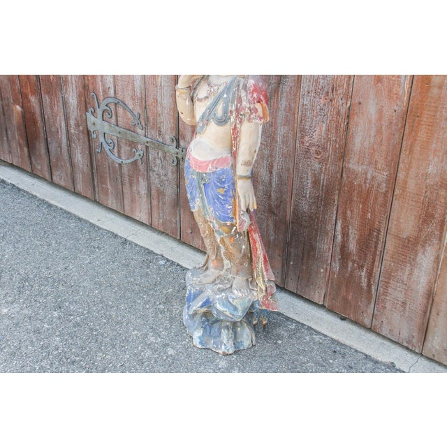 Antique Polychrome Quand-Yin Statue For Sale In Los Angeles - Image 6 of 11