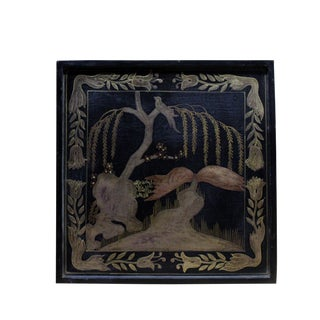 Hand Painted Golden Graphic Black Lacquer Square Display Disc Plate Tray For Sale