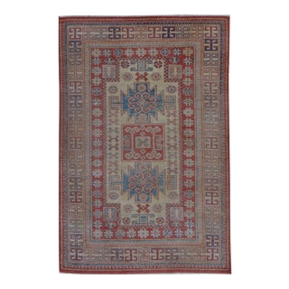 """Hand Knotted Kazak Rug - 4'7"""" X 7'1"""" For Sale"""