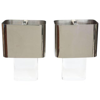 American Modern Pair of Lucite and Polished Chrome Lamps, Karl Springer