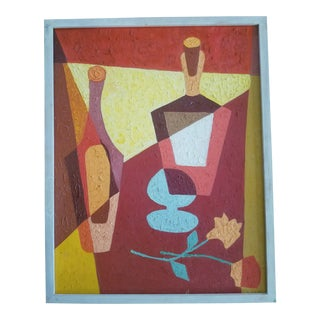 1970s Vintage Cubist Tablescape Painting For Sale