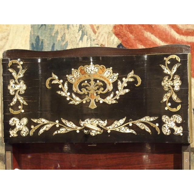 Mid 19th Century Circa 1850 Napoleon III Cave a Liqueur With Mother of Pearl, Rosewood, and Brass Inlay For Sale - Image 5 of 13