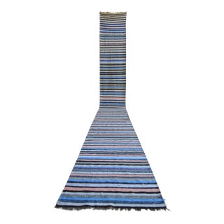 Vintage Turkish Handmade Striped Extra Long Runner Stair Tread- 2′2″ × 19′8″ For Sale