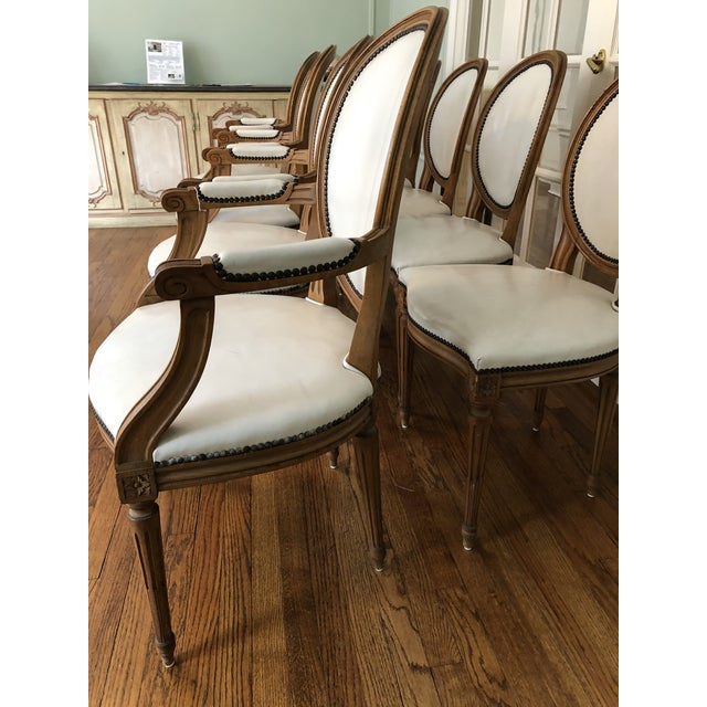 Brown 1960s Vintage Baker Furniture Leather Dining Chairs-Set of 8 For Sale - Image 8 of 12
