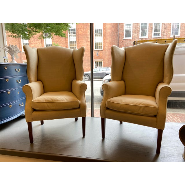 1920s Antique Mahogany, Belgian Linen and Down Cushion Wingback Chairs - a Pair For Sale - Image 12 of 12