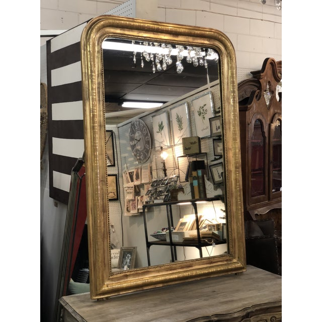 19th Century Antique French Louis Philippe Gold Leaf Mirror For Sale - Image 11 of 11