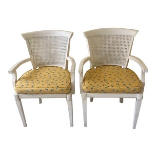 Vintage Mid Century Modern Wicker Cane Armchairs- a Pair, Part of a Set For Sale