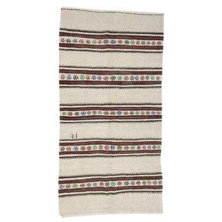 Vintage Striped Hemp Rug- 4′1″ × 8′ For Sale