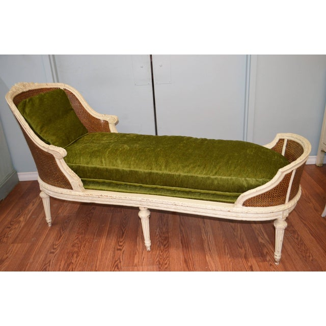 Mid 19th Century 19th Century Louis XVI Style Chaise Longue With Cane, Newly Upholstered. For Sale - Image 5 of 10