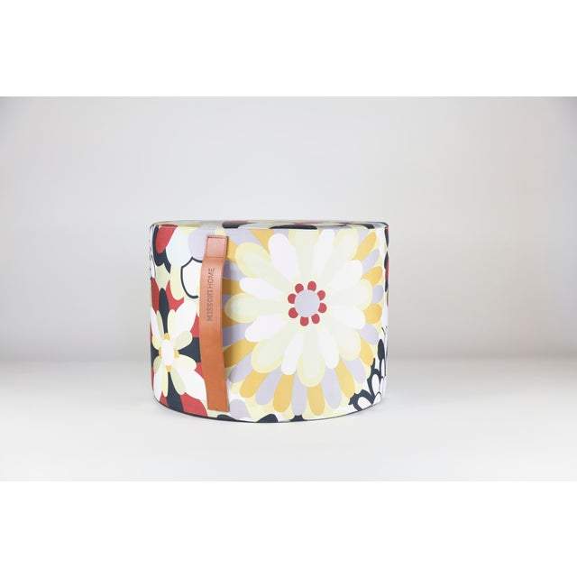 Small floral beanbag pouf with leather handle