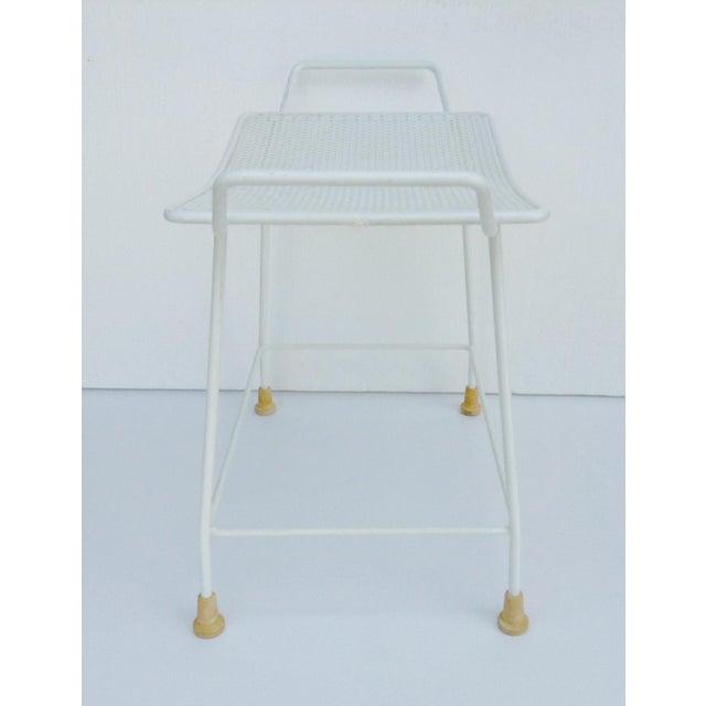 White Mid-Century White Enameled Metal Stool For Sale - Image 8 of 11