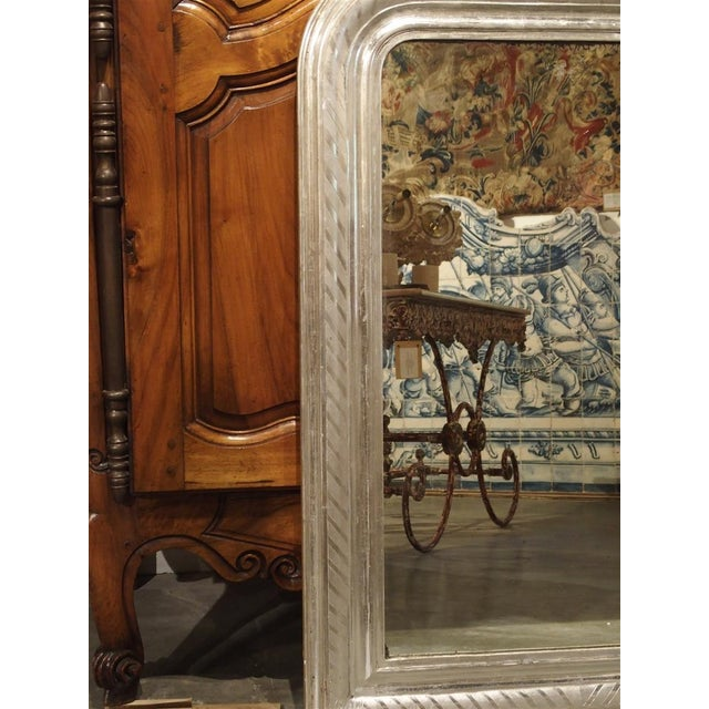 Glass Antique French Louis Philippe Silverleaf Mirror For Sale - Image 7 of 9