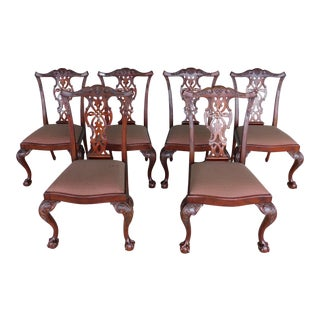 Maitland Smith Chippendale Style Mahogany Ball & Claw Foot Set of 6 Side Chairs For Sale