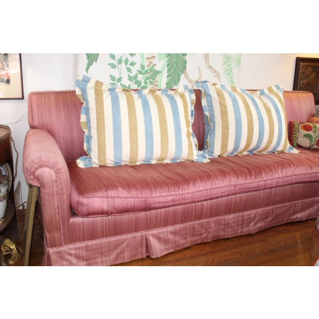 Beautiful pair of modern Ralph Lauren style, classic polo motif down pillows. Vertical raised silk embroidered stripes are...