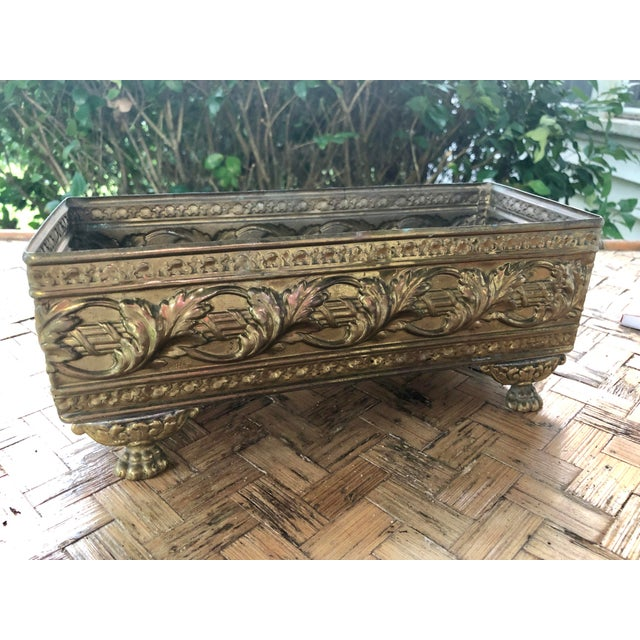 1940s Vintage Brass Repousse Embossed Rectangular Planter For Sale - Image 4 of 9