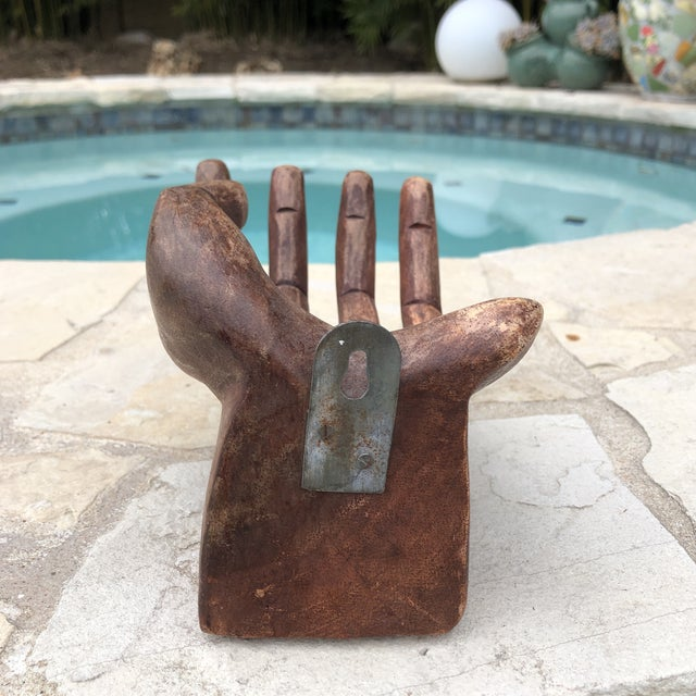 Boho Chic Primitive Bohemian Carved Wooden Human Hand Sculptural Shelf For Sale - Image 3 of 10