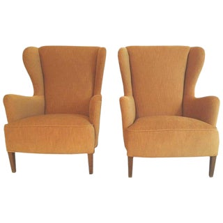 1940s Vintage Danish Wing Chairs- A Pair For Sale