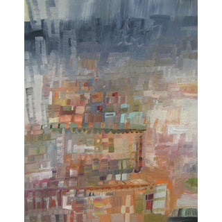 "Urso Contemporary Abstract Architectural Painting ""City Rain"" For Sale"
