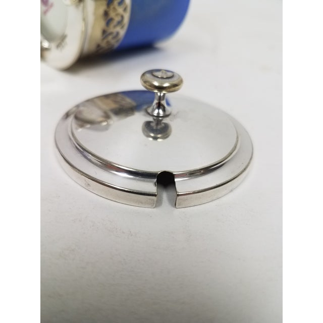 Early 19th Century Antique English Silver Plate Jam or Condiment Server With Blue Jar and a Spoon For Sale - Image 5 of 8