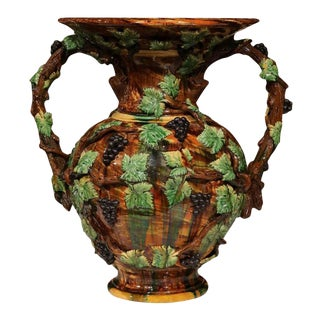 19th Century French Hand-Painted Vines, Grapes & Leaves Barbotine Vase For Sale