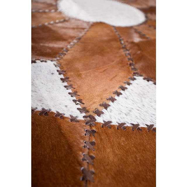 "Cowhide Patchwork Round Area Rug - 5'10""x5'10"" - Image 3 of 6"