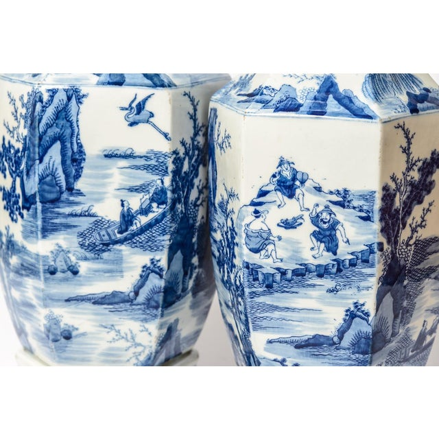 White 20th C. Tall Chinese Blue & White Vases - a Pair For Sale - Image 8 of 11