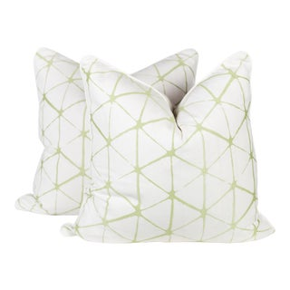 Citrus Geometric Embroidered Linen Pillows - a Pair For Sale