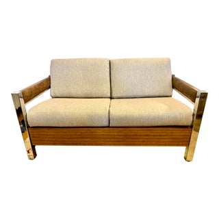 Mid Century Chrome, Wood, Faux Leather Loveseat For Sale