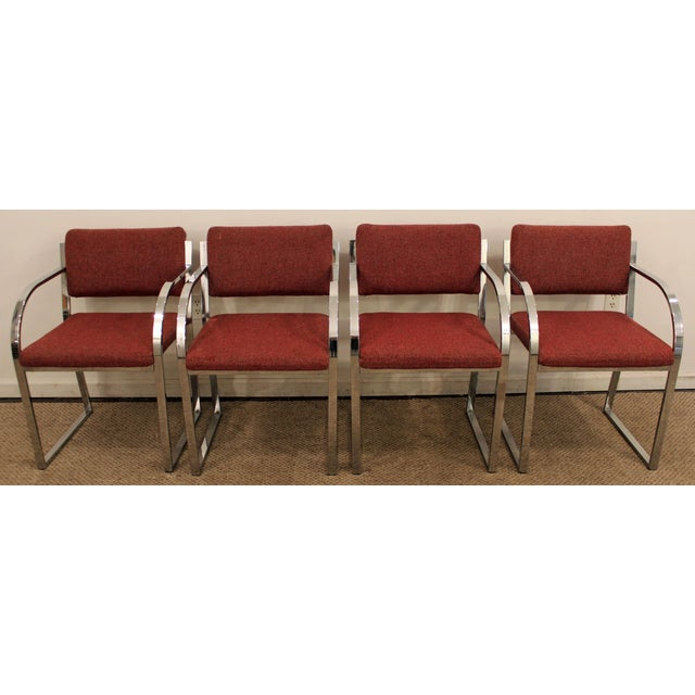 Milo Baughman Mid-Century Modern Milo Baughman Style Chrome Dining Chairs - Set of 4 For Sale - Image 4 of 10