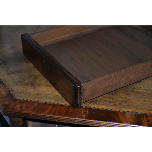 Mid 19th Century 19th Century Mahogany & Embossed Leather Octagonal Rent Table For Sale - Image 5 of 10