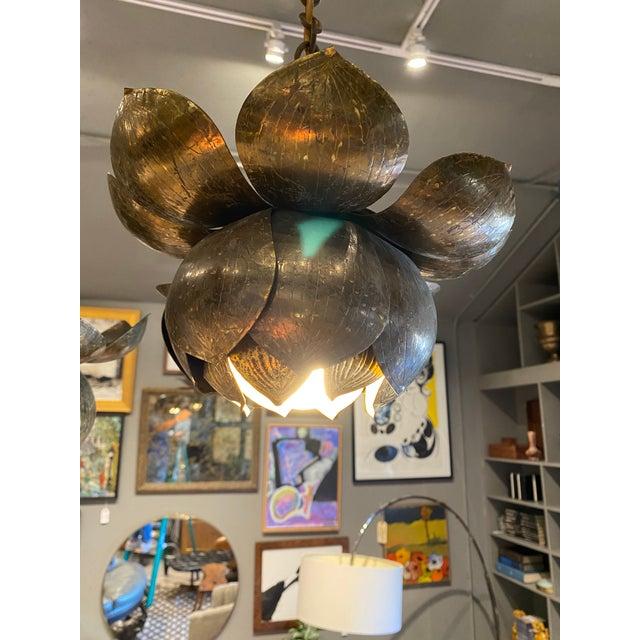 Brass Mid-Century Brass Lotus Pendant Chandelier by Feldman Lighting Co. For Sale - Image 8 of 9