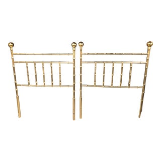 Vintage Hollywood Regency Brass Faux Bamboo Twin Size Headboards - A Pair For Sale