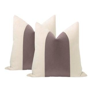 "22"" Smokey Lavender Mohair Panel + Linen Pillows - a Pair For Sale"