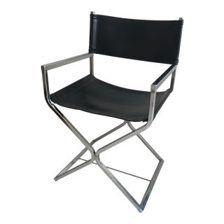 Milo Baughman Style Black Leather Director's Chair