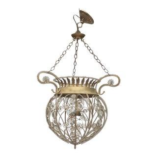 Vintage Crystal & Silvered Tole Hanging Lantern For Sale