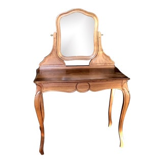 French Walnut Dressing Table or Vanity With Beveled Mirror For Sale