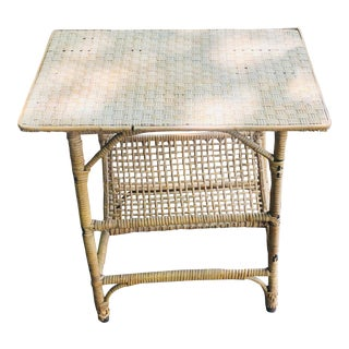1950s Cane Magazine Side Table For Sale