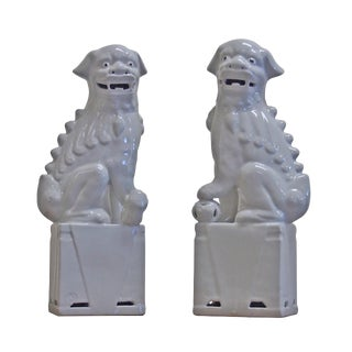 White Porcelain Sitting Foo Dog - a Pair