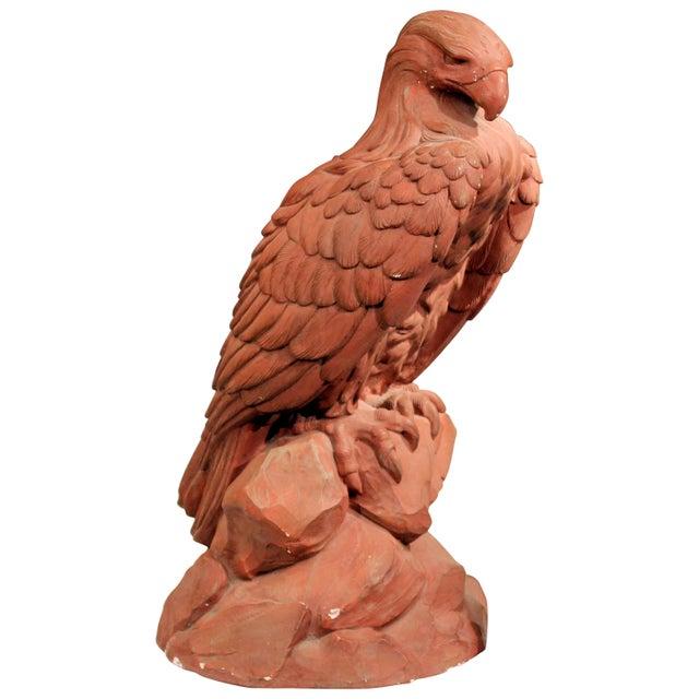 American Golden Eagle Sculpture Large Painted Plaster Figure Signed For Sale - Image 11 of 11