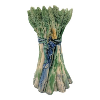 Early 20th Century Majolica Blue and Green Asparagus Vase For Sale