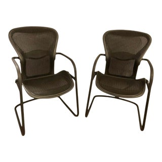 Miller Eames Model Ea 435 Executive Chair Aluminum Group Black Leather Soft Pad For Sale