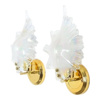 Pair of Iridescent Murano Glass Sconces, France, 1970 For Sale