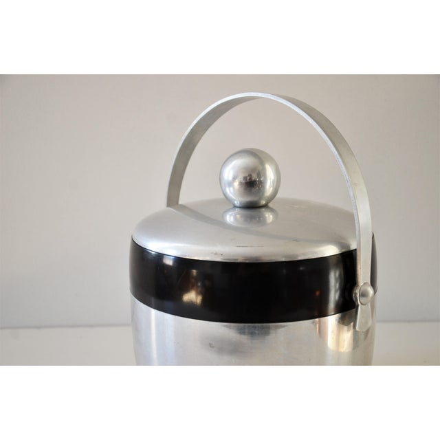 Silver 1950s Vintage Spun Aluminium and Bakelite Ice Bucket by Kromex For Sale - Image 8 of 9