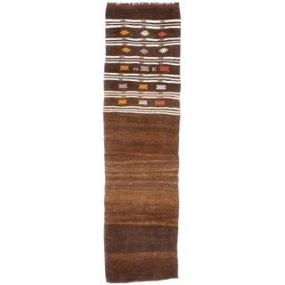 Vintage Turkish Kilim Runner With Tribal Style Narrow Hallway Runner - 2′4″ × 8′8″ For Sale