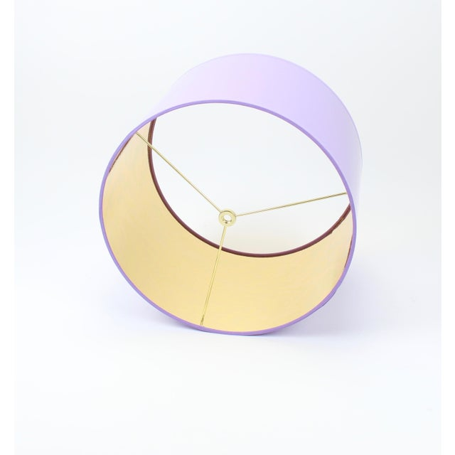 Contemporary HIgh Gloss Lavender Drum Lamp Shade With Gold LIning For Sale - Image 3 of 8